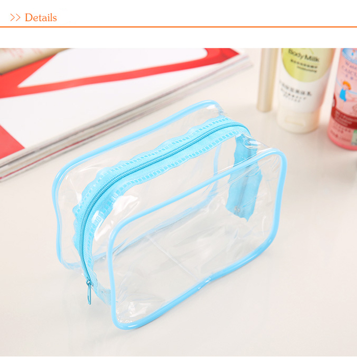 Pvc Transpa Clear Plastic Pouch Travel Makeup Toiletry Zipper Cosmetic Bag Blue Small Size In Bags Cases From Luggage On