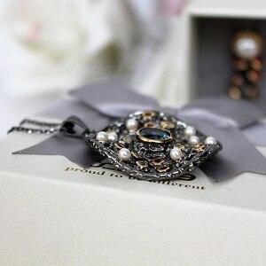 Image 4 - DreamCarnival 1989 Hot gotycka biżuteria czarne złoto kolorowy wisiorek naszyjnik łańcuch kobiety mieszane Cubic cyrkon syntetyczny Pearl WP6532