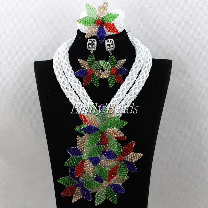 все цены на Multicolor Flower Pendant Statement Necklace Set Luxury African Fashion Wedding Jewelry Set Floral Necklace Earrings ALJ044