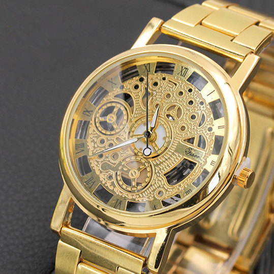 Gold/Silver Watch Hollow Full Steel Women Men Unisex Retro Relojes Hombre Quartz