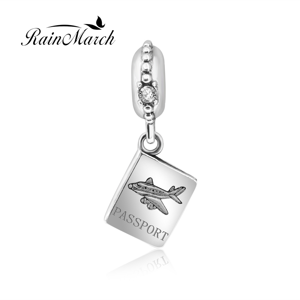 Authentic 925 sterling silver airplan block passport floating charm pendant Fits for Pandora Bracelets free shipping