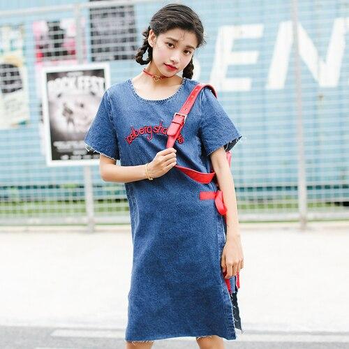 3599360090e Summer Dress 2017 Japan Style Lolita Bow Letter Embroidery Ripped Tassel  Denim Dress Jeans Midi Dress vestidos de festa 1342