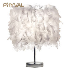 PHYVAL Bedside Reading Room Sitting Room Heart Shape Feather Crystal Table Lamp Light with EU plug US UK AU Plug small size(China)