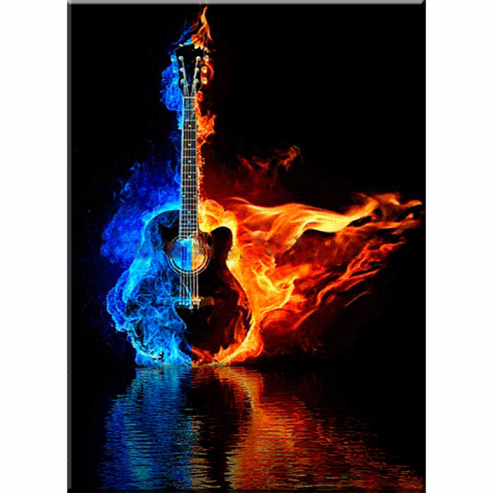 Musical Guitar Diamond Painting 3D Full Square Drill DIY Wall Pattern Embroidery