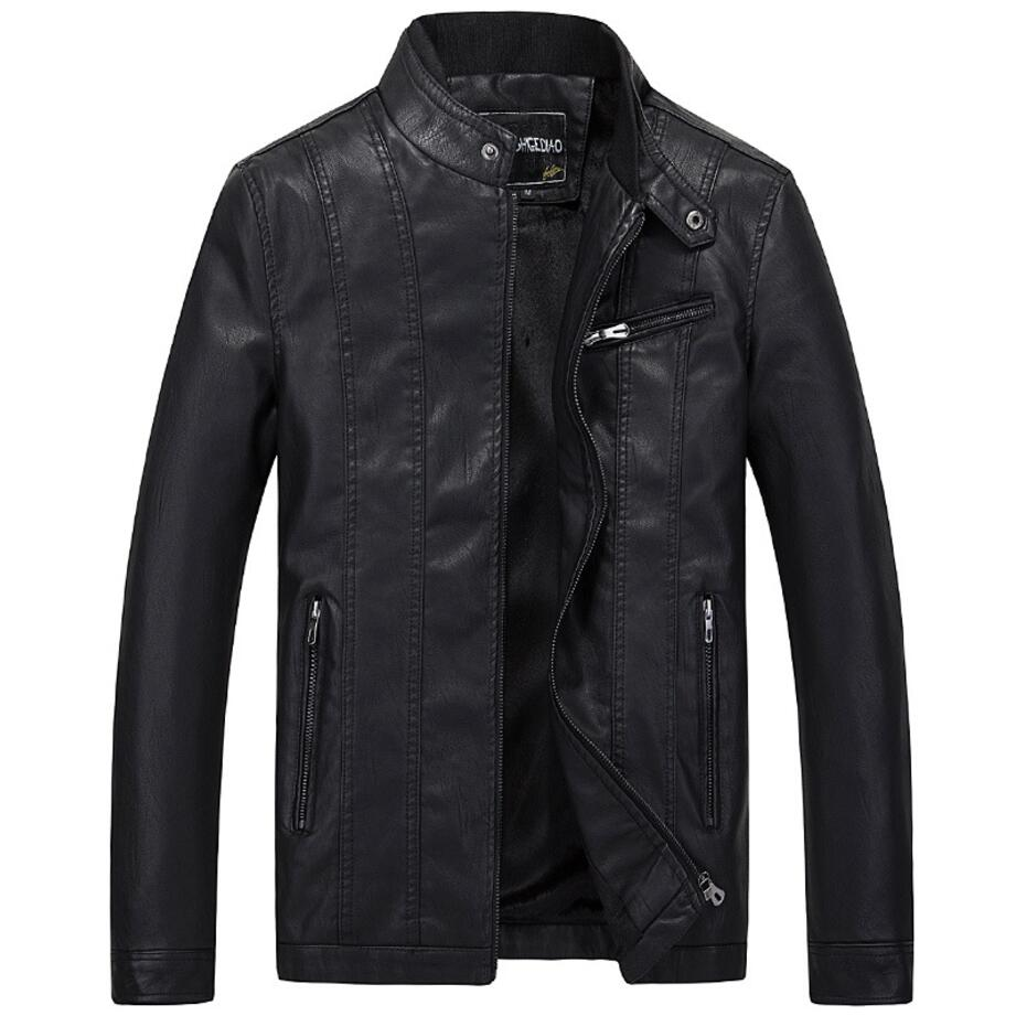 New Spring Autumn Motorcycle Leather Jacket Men Casual Slim Business Coat Bomber Biker F ...
