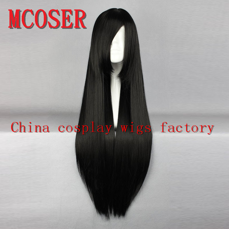 MCOSER 80cm long Straight black Cosplay Anime synthetic hair womens Lolita party Full Wig ...