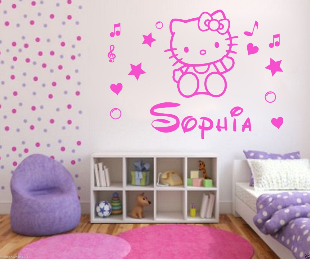 Wallpaper Kamar Hello Kitty Us 19 99 Hot Sell Wholesale Personalised Hello Kitty Name Decal Wall Sticker Wall Art Girl Bedroom Decor Free Shipping In Wall Stickers From Home