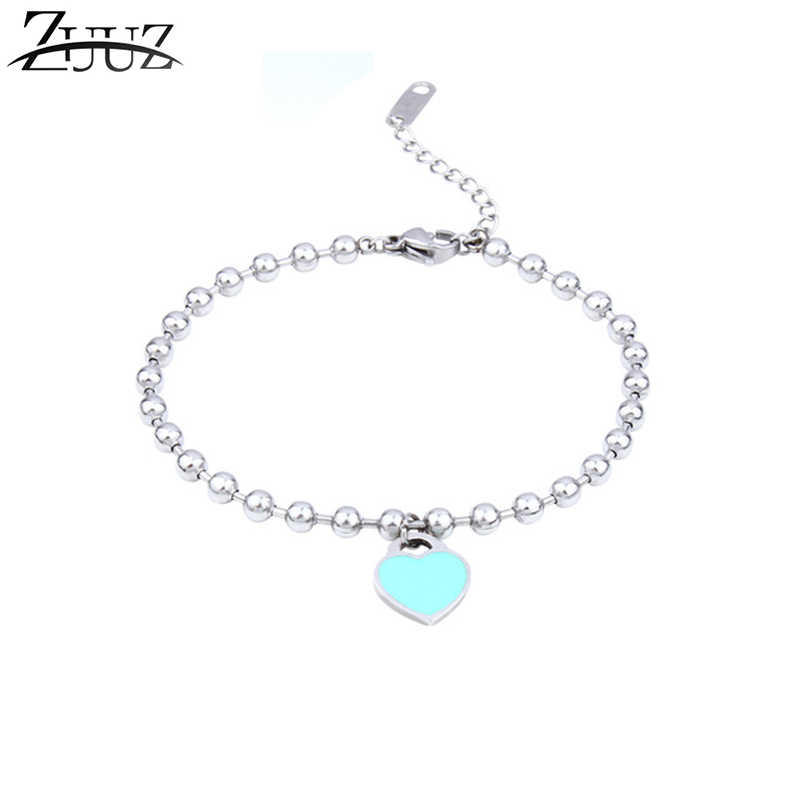 ZUUZ heart bracelets bangle chain link beads jewelry accessories silver for women  fashion charms friendship best friend
