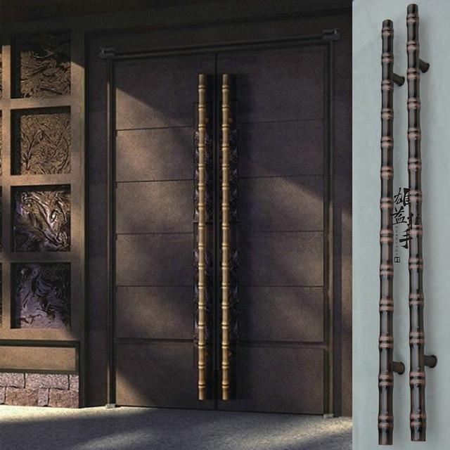 Chinese Antique Bamboo Glass Door Stainless Steel Door Handle Wooden Door  Handle European Modern Luxury Bronze