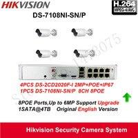 ערכת מצלמה Hikvision IP POE NVR DS-7108NI-SN/P + מצלמת ip מערכת טלוויזיה במעגל סגור אבטחת DS-2CD2020F-I & DS-2CD2120F-I הבית קל להתקנה