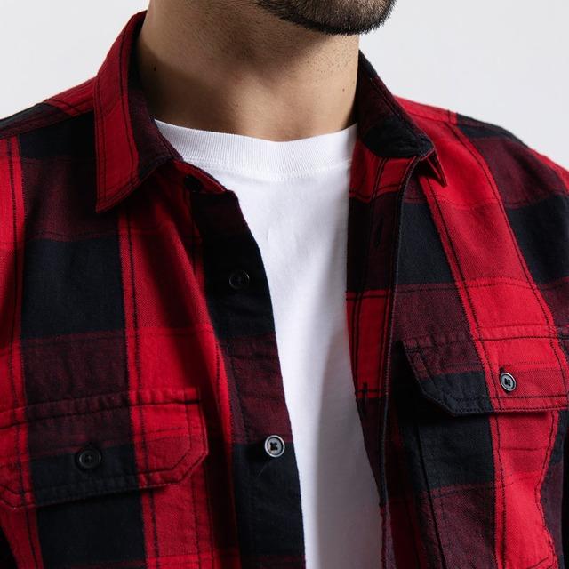 Men's Plaid Shirts Long Sleeve 100% Cotton Fashion Streetwear