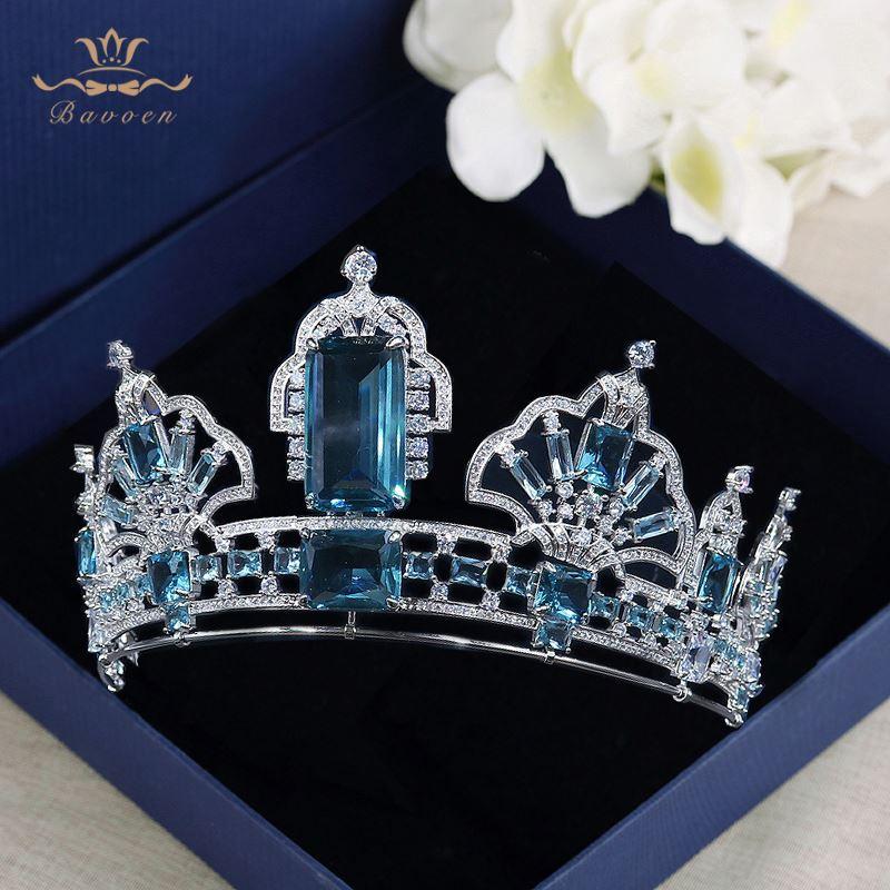 Mousseux Diadèmes Couronnes avec Bleu Zircon pour les Mariées Européenne Argent De Mariage Bandeaux Cheveux De Mariée Accessoires De Mariage Cadeaux