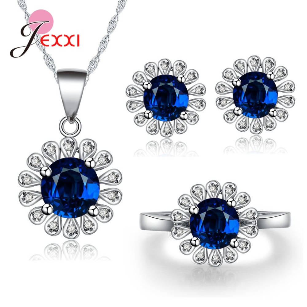 New Shinning Blue Round Cubic Zirconia 100% 925 Sterling Silver Elegant Great Sun Flower Necklace Earrings Rings Set