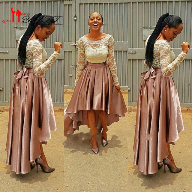 9c83d73430 High Low Pink Prom Dress bella naija Bridesmaid Dresses 2017 Lace Top  wedding guest Dresses Long Sleeve Plus Size Formal Gowns