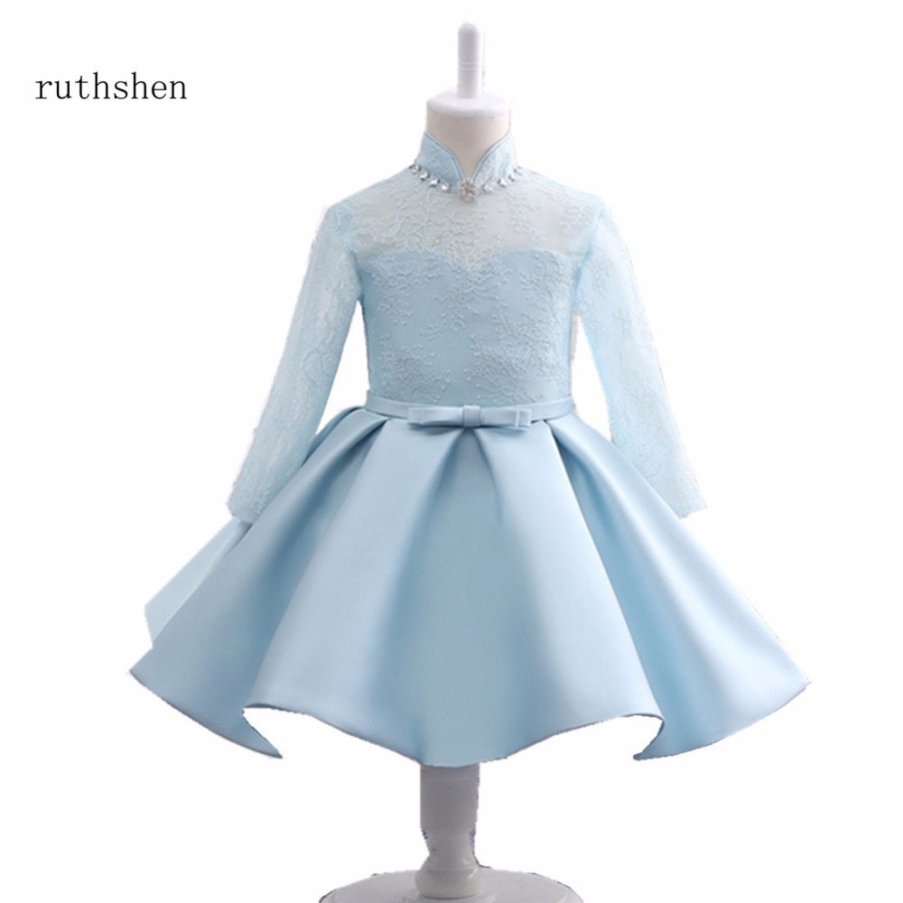 Princess Pretty Baby Blue   Flower     Girls     Dresses   For Weddings With High Neck Pearls Lace Full Sleeves   Flower     Girls     Dress   2018