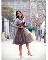 wuzhiyi 2018 Mauve Red Tutu Tulle Skirts Hot 6 layers Midi skirt Pink Women Fashion Design saias femininas formal faldas cortas