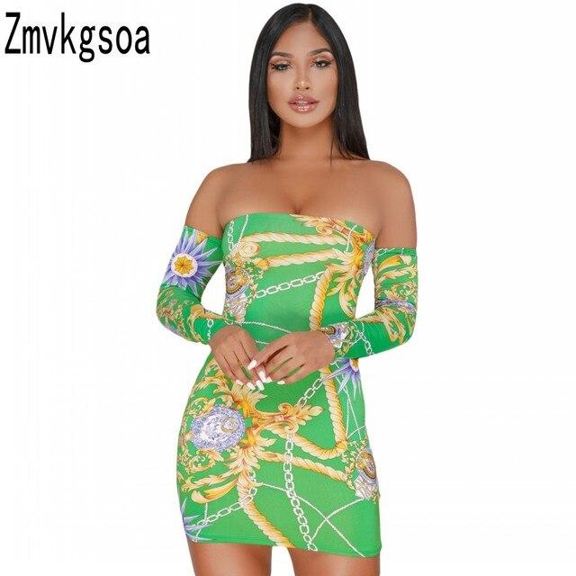 Zmvkgsoa Summer Women Mini Dress Chain Printed Vintage Long Sleeve Bodycon  Sexy Off Shoulder Lace Up Back Club Dresses Q220404 f74f3b3ca