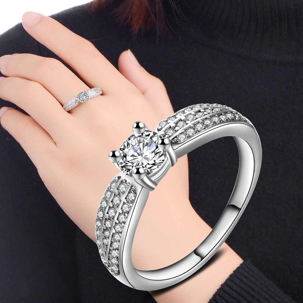 KOFSAC 2018 คุณภาพสูง 925 เงินสเตอร์ลิงแหวนประณีตฝัง CZ แหวนสำหรับผู้หญิงงานแต่งงานแหวนแฟชั่นเครื่องประดับ