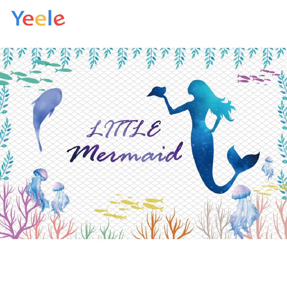 Yeele Mermaid Birthday Photocall fish Room Decor Photography Backdrops Personalized Photographic Backgrounds For Photo Studio in Background from Consumer Electronics