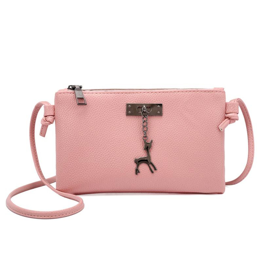 MOLAVE Handbag Bag Female Solid Bags for Women Zipper Girls Leather Small Deer Shoulder Bags Messenger Bag Coin Purse May14 new fashion women message bags with small purse metal ring handle leather handbag ladies girls trendy shoulder bag balestra