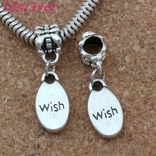 100 Pcs Ancient silver Alloy Oval  Wish charm Big Hole Beads Fit European Charm Bracelet Jewelry 8.5x28mm A-161a