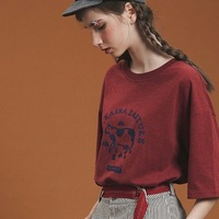 High Quality Loose Tshirts Wine Red Letter Printed Oneck Short Sleeve Women T Shirts Fashion Summer