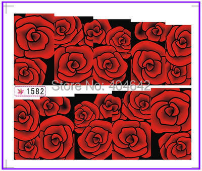 1X Nail Sticker Full Cover Red