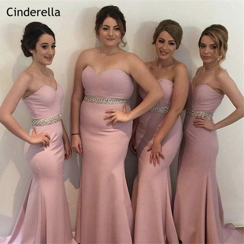 Cinderella Pink Sweetheart Crystal Beaded Sash Mermaid   Bridesmaid     Dresses   Zipper Back Trumpet Satin Fabric   Bridesmaid     Dresses