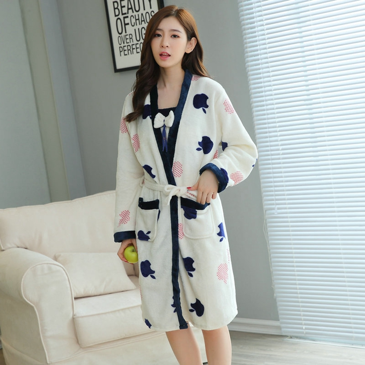 2PCS Sexy Thick Warm Flannel Robes Sets for Women 2018 Winter Coral Velvet Lingerie Night Dress Bathrobe Two Piece Set Nightgown 247
