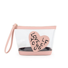 KANDRA Fashion Transparent Cosmetic Bag for Women PVC Capacity See Through Makeup Bags Clear Organizer Zippered Pouch Clutch