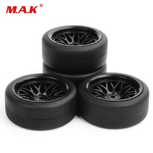 4pcs/Set Flat Rubber Tyres & Wheel rims Set 12mm Drive H
