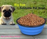G76 New Pet Dog Cat Silicone Fording Feeding Big Dog Bowl Water Dish Portable Big Size