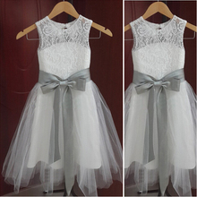 2014 A Line Flower Girl Dress with Belt Bow Party Dress Pageant Dress for Little Girls Kids/Children Dress for Wedding wholesale embroidered flowers girls dress kids clothes wedding dress girl flower belt party dress 12pcs lot free dhl ly9868