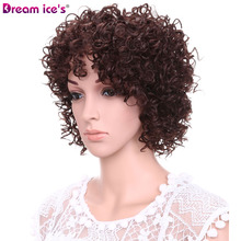 Afro short  Synthetic brown bouncy curly wigs, Dream ice's 12 inch long cosplay wig  for women women s ladylike long side bang curly cosplay wig