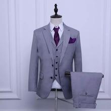 2018 Groom Tuxedos Light Grey Groomsmen Custom Made Side Vent Best Man Suit Wedding/Men Suits Bridegroom (Jacket+Pants+Tie+Vest)