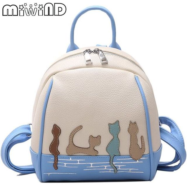 Miwind-f Sweet cute little kitten pattern decals quality mini backpack cced100e84a4e