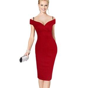 Image 3 - Güzel sonsuza kadar yeni seksi zarif katı şık rahat iş kayış Slash boyun Bodycon diz Midi kadın resmi kalem elbise b309