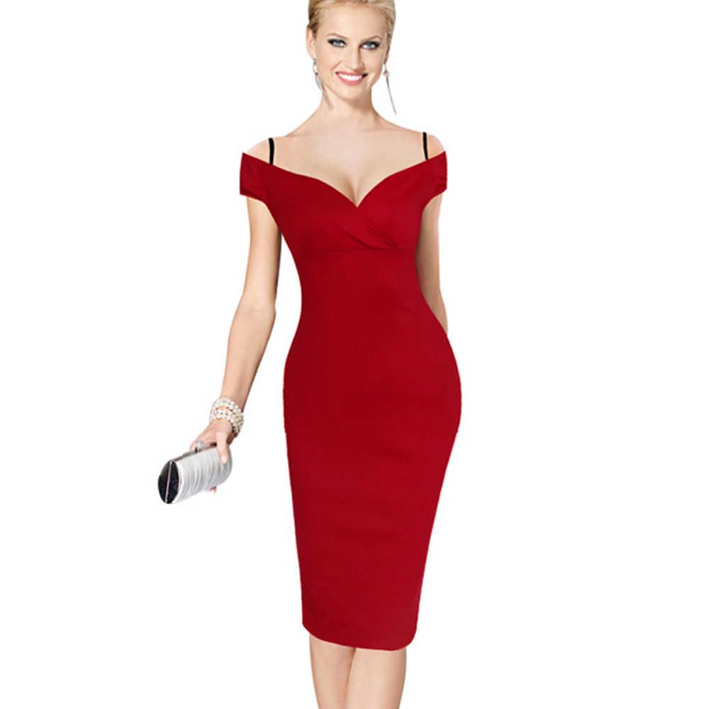 Женское платье-миди на бретелях Nice-forever, стильное деловое элегантное однотонное платье-карандаш в стиле кэжуал, до колен, модель B309, 2019
