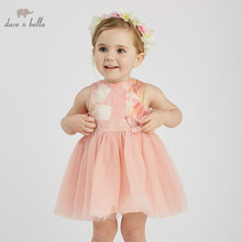 DB9939 DAVE BELLA summer baby girl princess floral clothes children birthday party wedding dress with bows boutique dresses