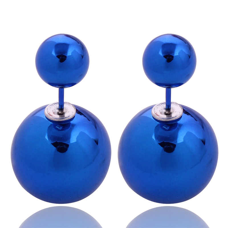 12 Colors Super Shining UV Double Sides Big Pearl Stud Earrings Classic Double Ball Beads Earrings For Women Boucle d'oreille