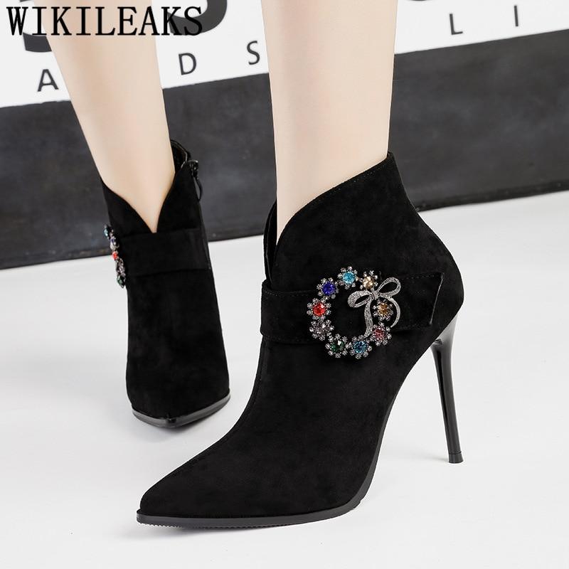 Zapatos Damen Chaussure Apricot Diamantes Imitación Mujeres negro Stiefeln Botas Invierno Mujer De Cuissardes Tacón khaki Tobillo Stiletto lavanda 2019 Femme B8BZAwS