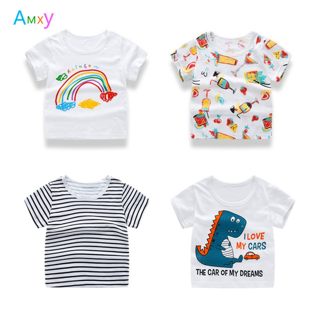 037986fac 2018 Summer Baby Boys Rainbow Striped Cartoon T-shirts Girls Casual Cotton  O-neck Tee Tops Kids bottoming T shirts Clothing