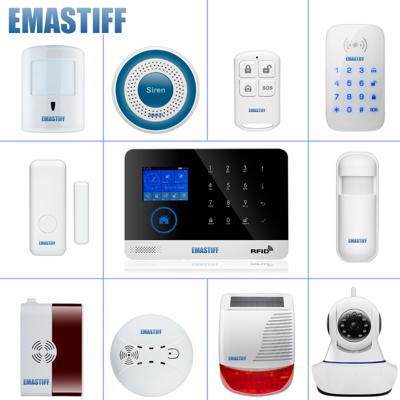 wireless alarm accessory glass/door/pir/siren/smoke/gas/water/password keypad sensor for security home wifi GSM SMS alarm system yobang security wifi gsm wireless pir home security sms alarm system glass break sensor smoke detector for home protection