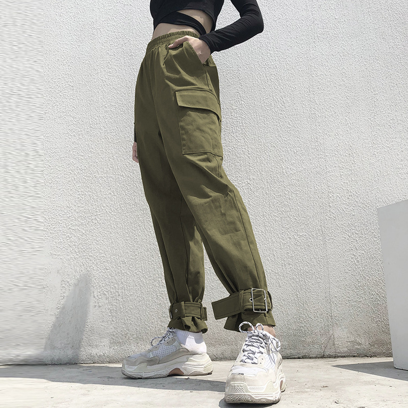 High Waist   Pants   Camouflage Loose Joggers Army Harem Camo   Pants   Women Streetwear Punk Green Cargo   Pants     Capris   Trousers L215