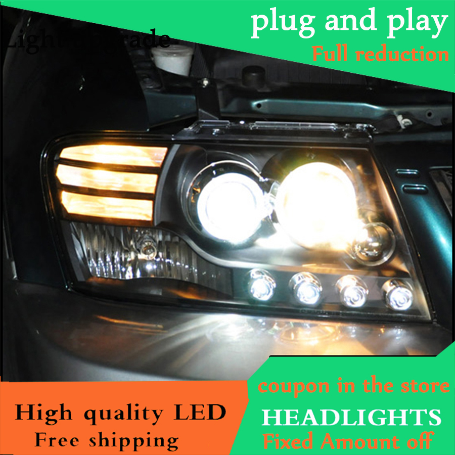 Car Styling head lamp For Mitsubishi Pajero V73 headlights 2004 2013 LED Angel eyes led DRL
