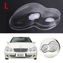 Left Transparent Headlight Lens Shell Cover Fog Light Assembly For Mercedes Benz MB W203 C200 C230 C240 2001-2007 4Door #PD553-L