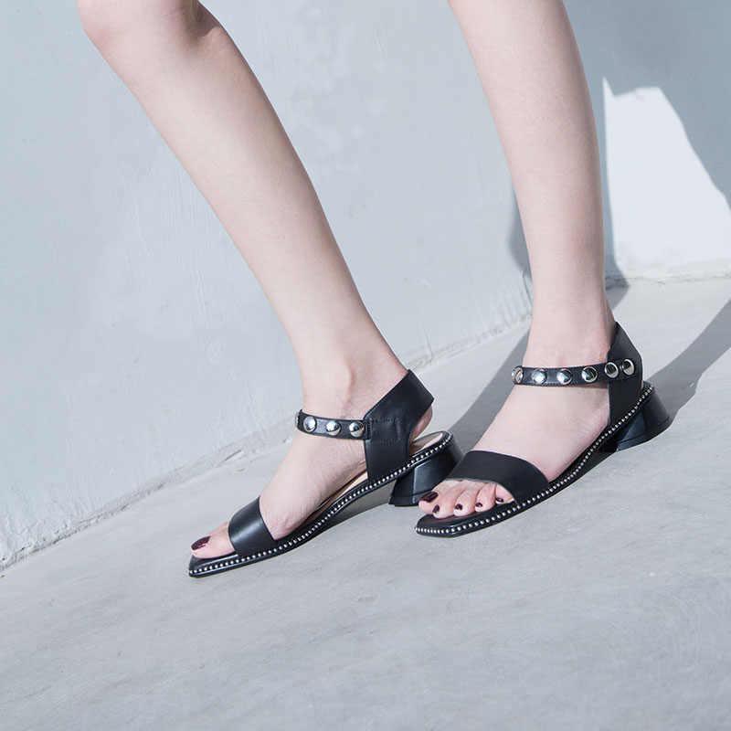 Da Thật 100% Giày Sandal Nữ Dây Đeo Mắt Cá Chân 4 Cm Giày Cao Gót Giày Mùa Hè Đinh Tán Đầm Giày Người Phụ Nữ