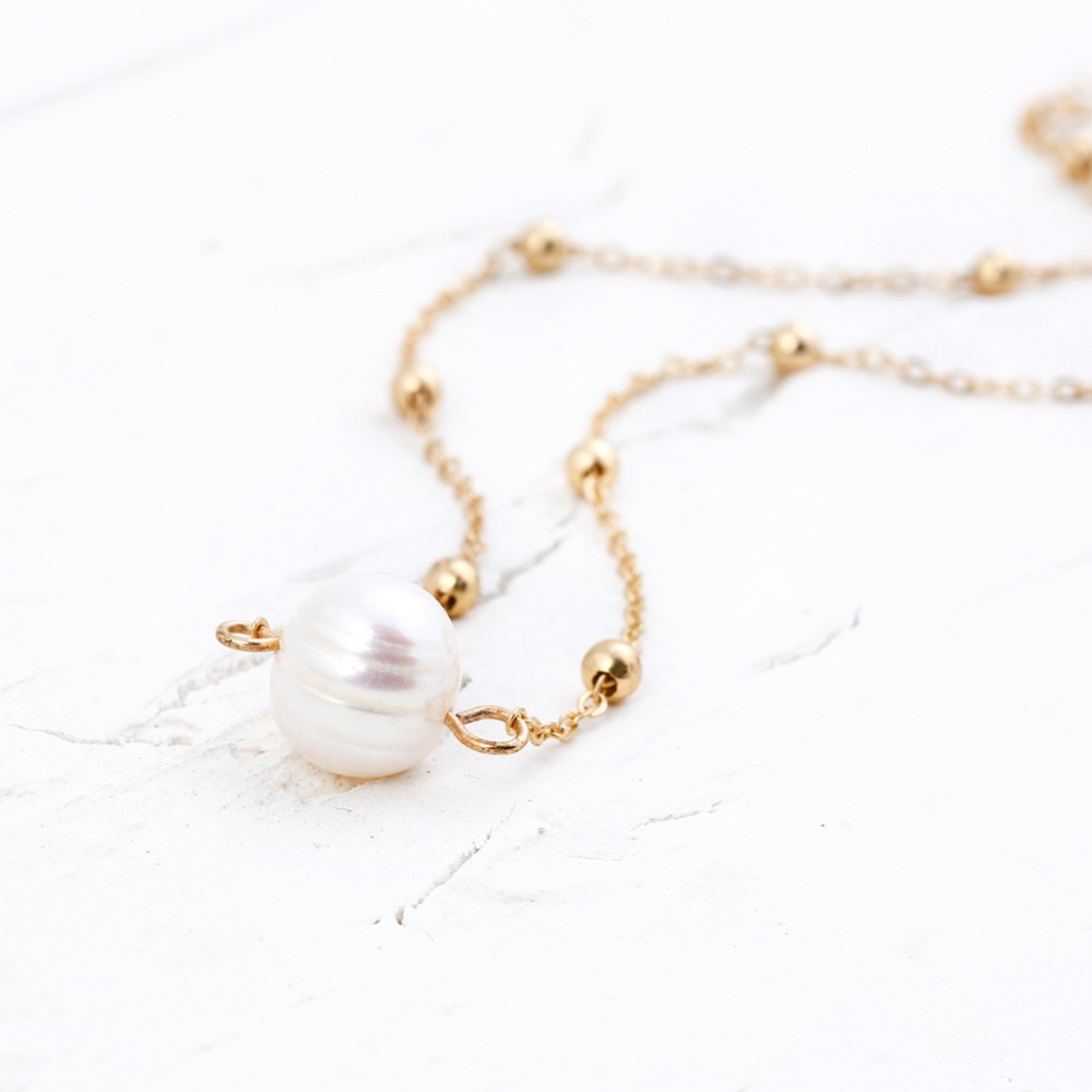 Women Choker Necklace Freshwater Pearl Necklace Gold Color Chain Clavicle Chain Necklaces 2018 Fashion Jewelry For Girl  (3)