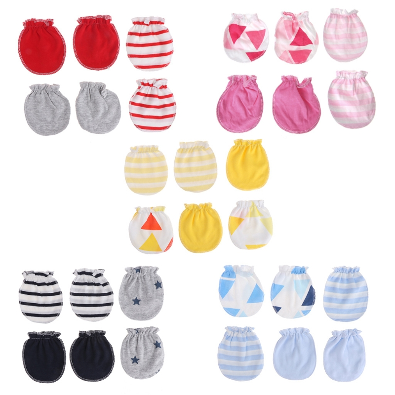3Pairs Fashion Baby Anti Scratching Gloves Newborn Gloves Protection Face Cotton Baby Mittens Glove Baby Infant Soft