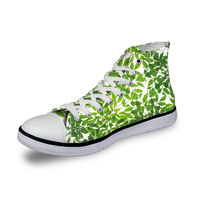 Noisydesigns High top canvas women sneakers vintage vulcanized flat shoes lady White green grass 3D print girls lace up footwear